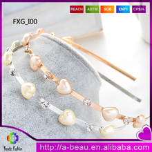 FXG_I00 2016 New Fashion Heart Shape Hair Accessories Crystal Pearl <strong>Headbands</strong>