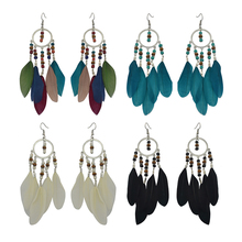 Fashion Silver Alloy Chain Beads Drop hanging feather earring