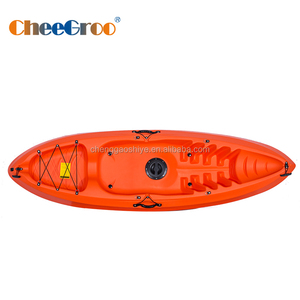 single person sit-on-top flat water fishing kayak with fishing equipment
