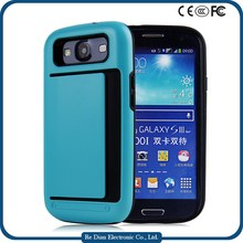 Anti-shock Cell Phone Shell PC+TPU Case Back Cover with Card Holder For Samsung Galaxy S3