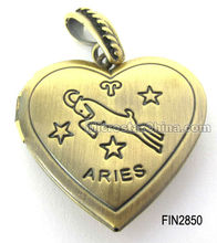 "Zodiac Heart locket pendant with ""ARIES"" design"