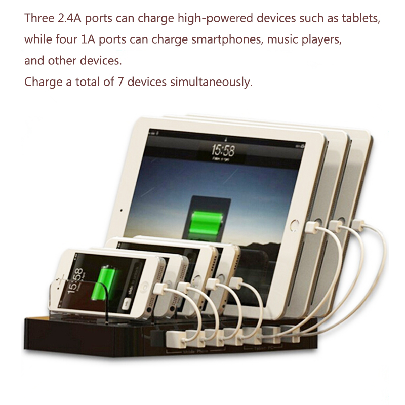 7 port USB Charging Station kiosk for all mobile devices and public used charger
