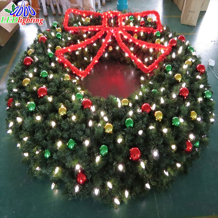 Shopping mall hanging decoration christmas wreath motif light