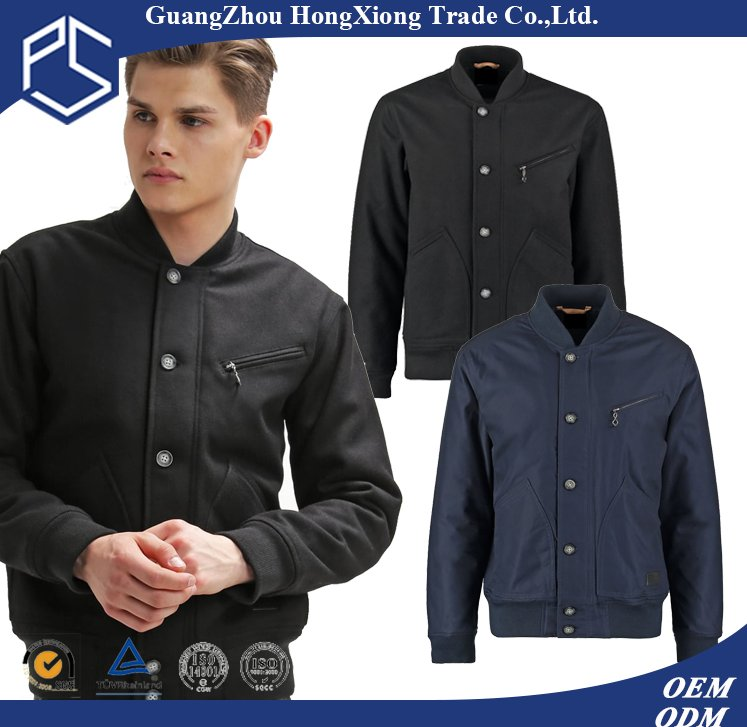 New Style High Quality Button Plain custom Logo Pocket Black 100% Cotton Varsity Jacket