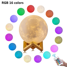 16 Colors RGB Dimmable Brightness Remote Touch Control Led Night Lamp 3D Print Moon Light