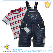 Wholesale summer cotton stripe shirt and cowboy suspenders clothes set for kids boy