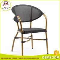 Promotion vintage metal frame aluminium wicker arm chair outdoor furniture