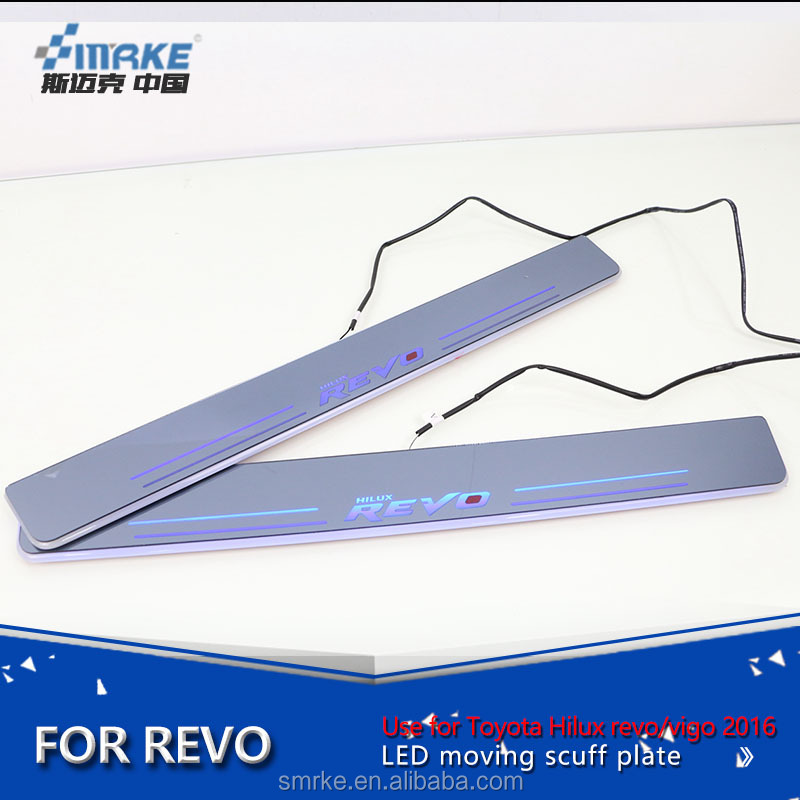 Smrke Car specific led moving door scuff for Toyota Hilux revo/Vigo scuff plate/door step sill plate light