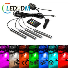 Hot Sale Car remote Decorative LED Atmosphere Light RGB Music Sound Control Car Interior Light