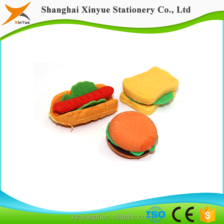food shape eraser mini cute rubber promotional Christmas gifts wholesale