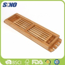 2014 promotion gift durable bamboo bathroom accessories bath caddy tub caddy