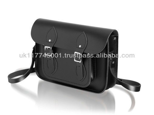 ANU London Satchel 11.5 inch - Traditional British Satchel Bags *Handmade in England* - Black