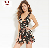 2016 Flower Printed Sexy Young girls' dress,Girls Sexy Night Dress