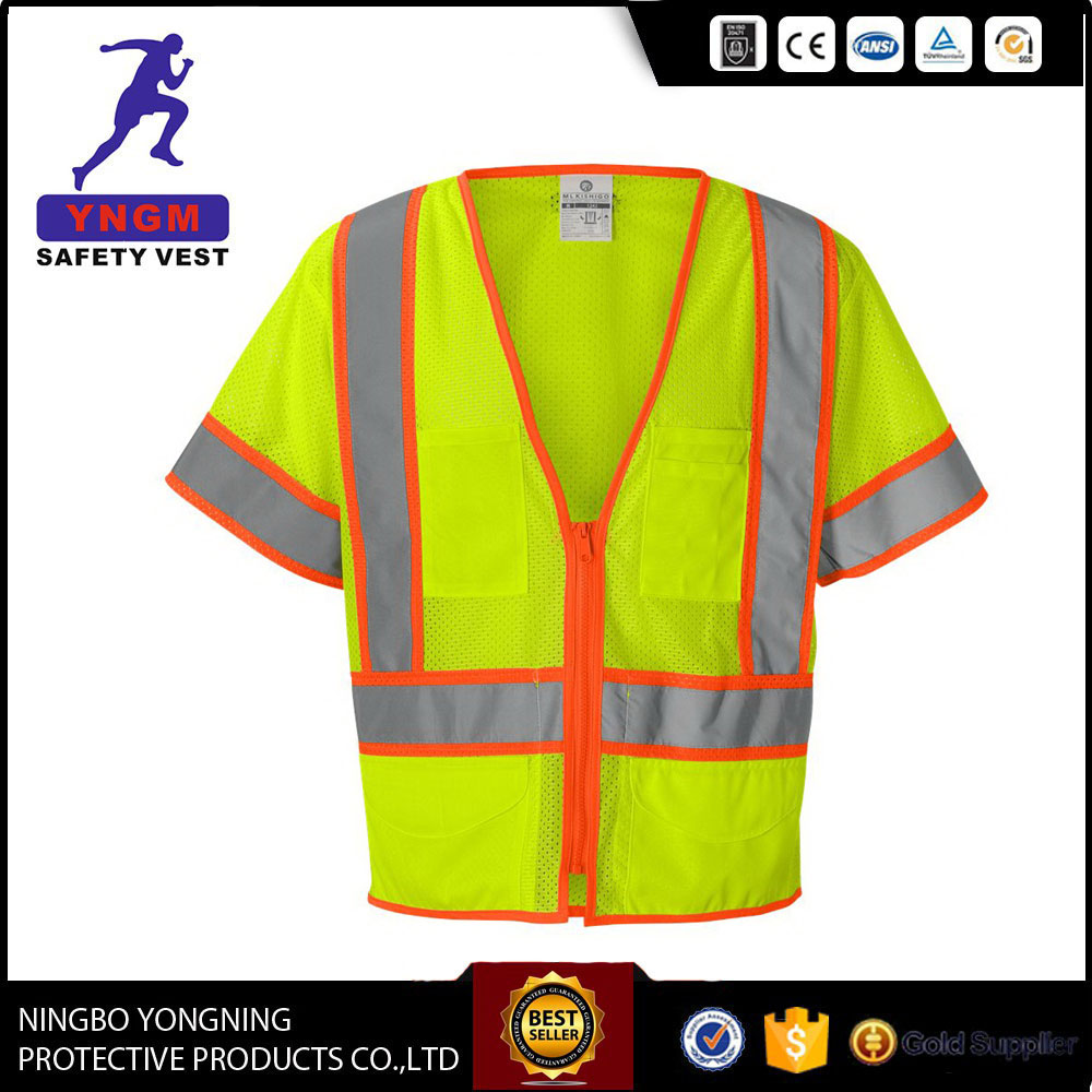 Hot selling reflective tape mesh polyester safety vest