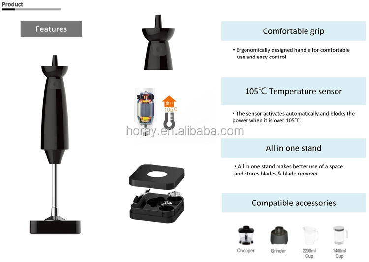 WizHaus/WIZCOOK personal hand blender and multi food mixer model No.V-9000B black color HORAY AC universal motor inside