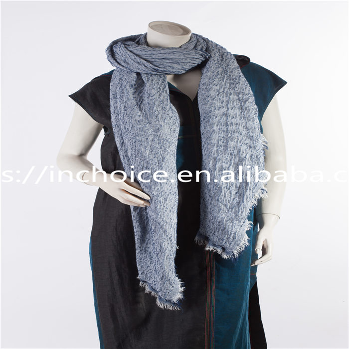 High quality blue spring and autumn fringed short neck scarf