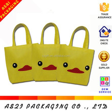 custom printed small cute yellow reusable shopping bag with long handle