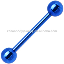 Cheap fashion blue titanium 2 balls barbell tongue ring body piercing jewelry