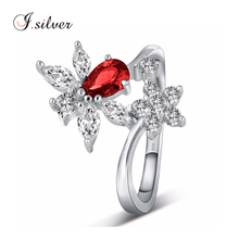 s925 sterling silver flower shaped red cz wedding rings jewelry women R30071