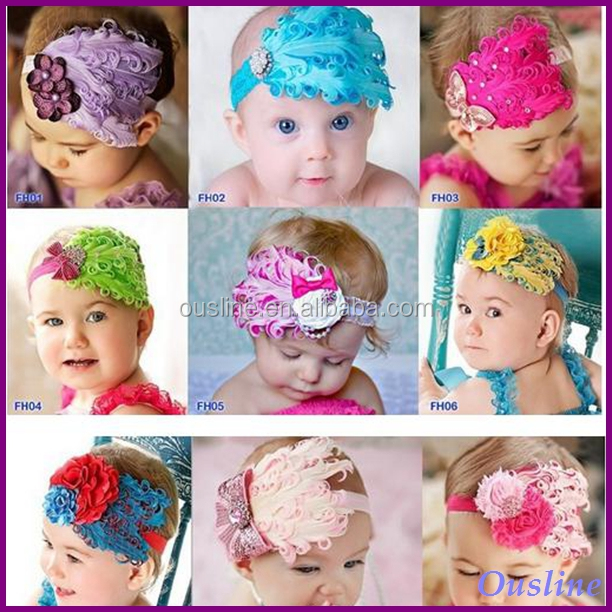 wholesale 9 styles baby feather headbands, feather headband, kids feather headbands