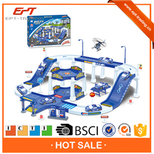 Slot car parking play set with free wheel police car
