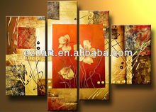 Handpainted Modern Wall Art Abstract Group Oil Painting Warm Color Triptych Paintings