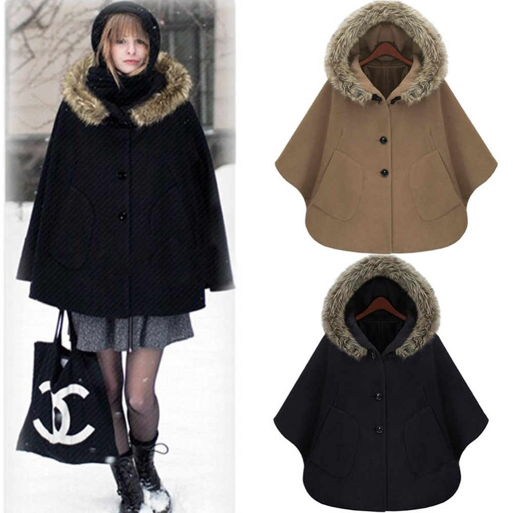 2017 fashion Cute Girls short fur hooded winter cloak coat Wholesale Clothes Winter Women Wool Cloak Fur Button Coat