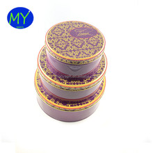 3 Pieces CMYK Printed Round Tin Box Set For Cookies