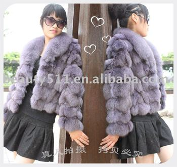 2010 Luxury fox head hair fur coat, fur garment JL010