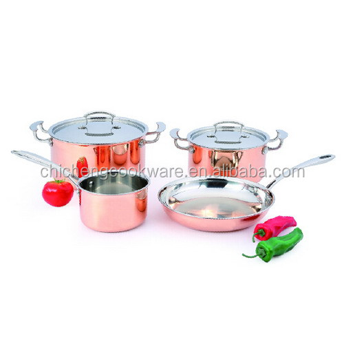 Triply Copper aluminum stainless steel cookware set kitchenware
