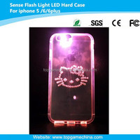 led flash light up case for iphone 6 plus hello kitty design phone case