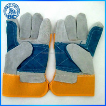 Cow Split Leather Double Palm Glove With Cotton Back