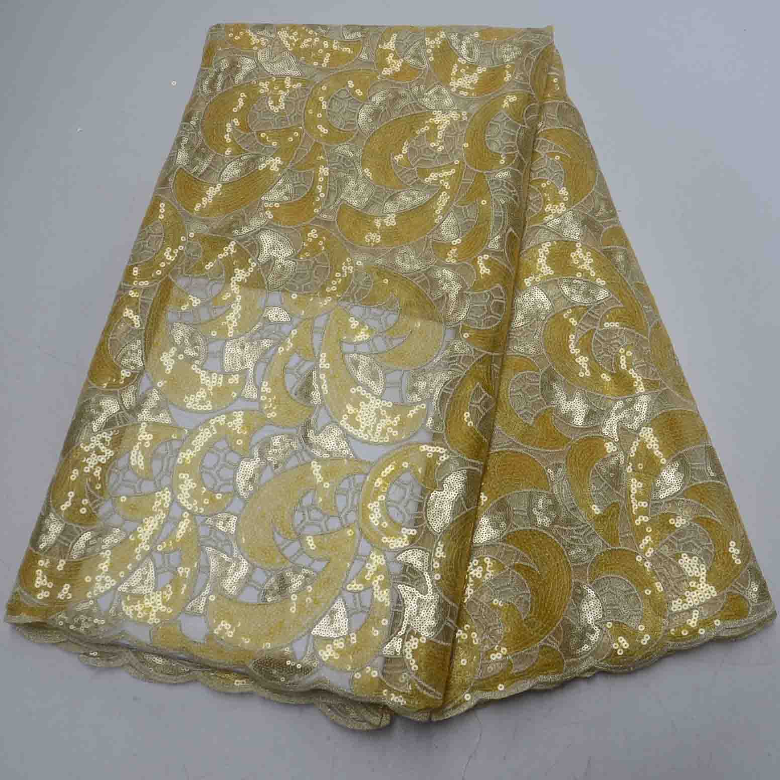 Big cutout <strong>holes</strong> Soft African handcut organza lace <strong>fabric</strong> African voile lace with Allover sequins high quality gold