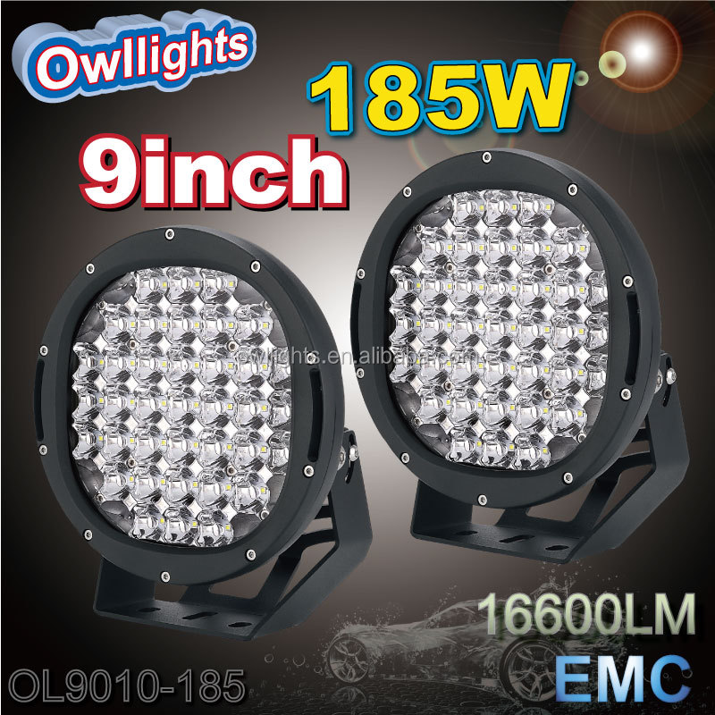 Best selling Round IP68 waterproof 9'' 185W led spot light, round offroad led driving light for Automobiles & motorcycles