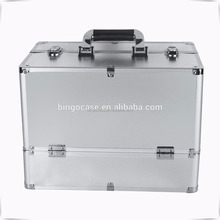 Aluminum Extra Large Space Professional Silver Beauty Cosmetic Box Jewelry Nail Make Up Travel Vanity Case