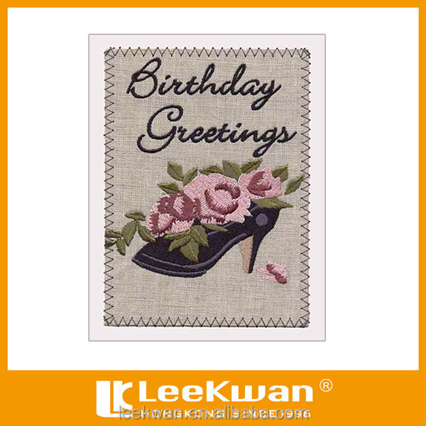 Diy happy birthday cards embroidery design greeting