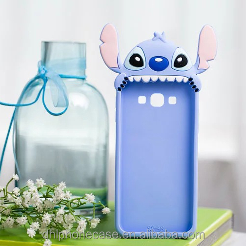 cute soft 3D blue color silicone phone case mobile phone case for iphone 6,7,8 case cover for stitch phone case