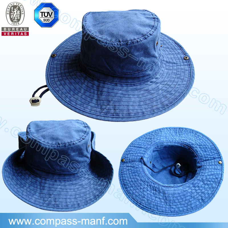 fashion vintage fishing outdoor wide brim blue cotton bucket hats