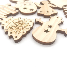 Custom pine wood laser cutting Christmas tree hanging decoration