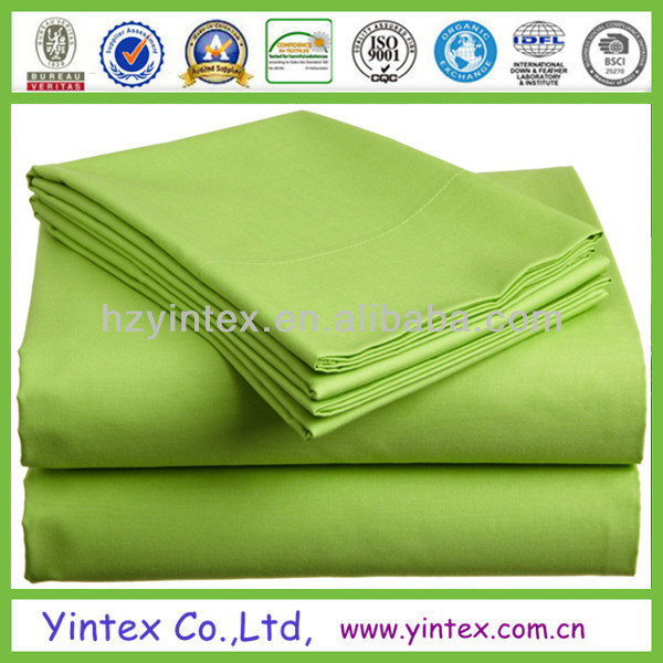 Green 100% Polyester Microfiber Bed Sheet for Hotel