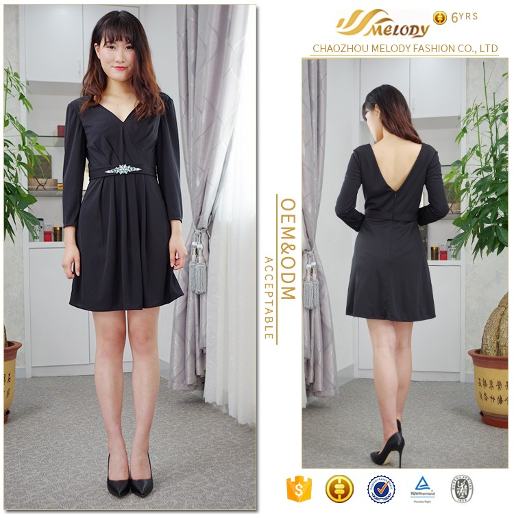 Spring wear short medium length beaded hot selling cheap one piece black dress from guangdong