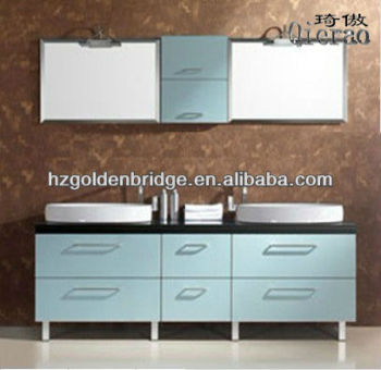 Modern High Quality Solid Wood Bathroom Cabinet, Double Basin Wooden Bathroom Vanities