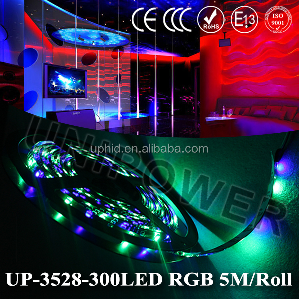 Waterproof 3528 rbg strip light led 60led/m 5M 300 LED SMD DC 12V with IR Remote Control