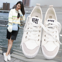 Women Classic Lace-up Canvas White Shoes Flats
