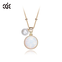 Gold Plated 925 Silver Women Opal Necklace With Pearl