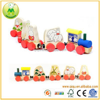 2015 New Items Baby Funny Lovely Rabbit Wooden Toy Train