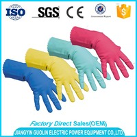 different colorful waterproof household kitchen cleaning latex gloves dipping plant