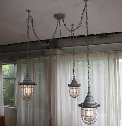 Industrial retro nostalgia 3 heads vintage edison loft country style pendent lights for home indoor decoration KC-MD1415-3