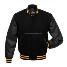 custom quality plain letterman jackets wholesale with leather sleeves