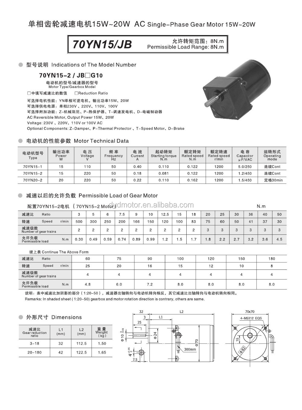 70 Series 15W, 20W Compact Single Phase 220V AC Induction Gear Motor